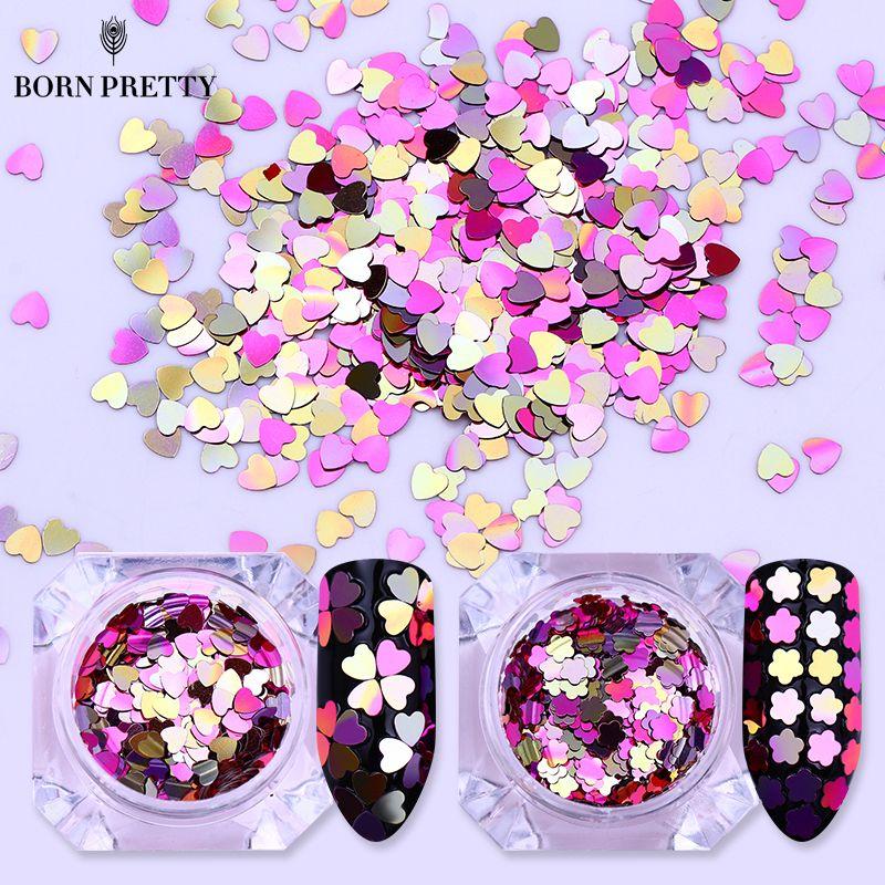 Nail Art Bunga: LAHIR CUKUP 1 Kotak Gradien AB Warna Nail Sequin Jantung