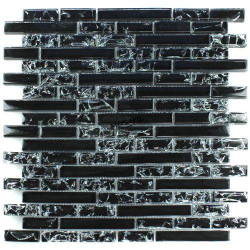 Glasmosaik Fliesen Effekt Mosaik Schwarz Gebrochenes Glas Effekt:  Amazon.de: Baumarkt