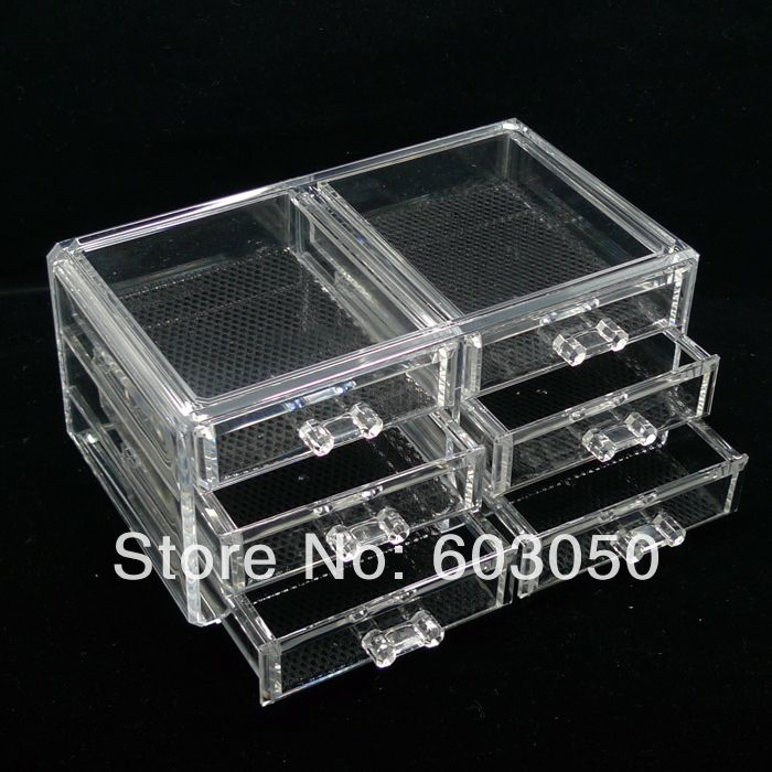 free shipping Luxury Acrylic Cosmetic Organizer Makeup Box 4 Drawers