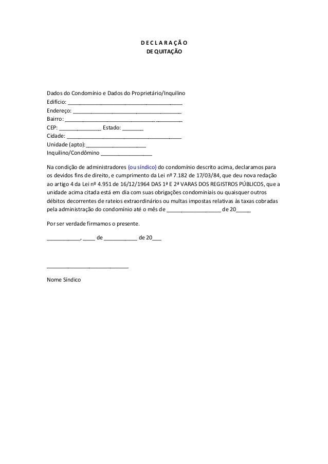 DECLARAÇÃO DE QUITAÇÃODados do Condomínio e Dados do Proprietário - account management job description