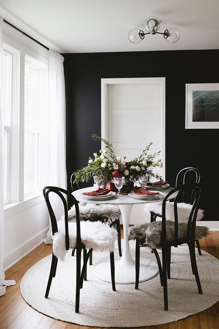 As Long As You Do Your Research Decorating In A Dining Room Can Be An Completely Affordable Experience Al Dining Room Design Black Walls Dining Room Decor