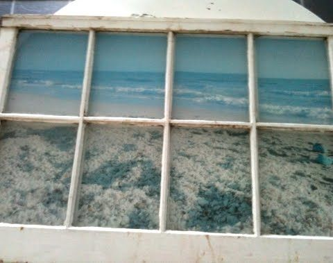Create A Faux Ocean View With An Old Window By Enlarging Photo And Mounting It Behind The Frame