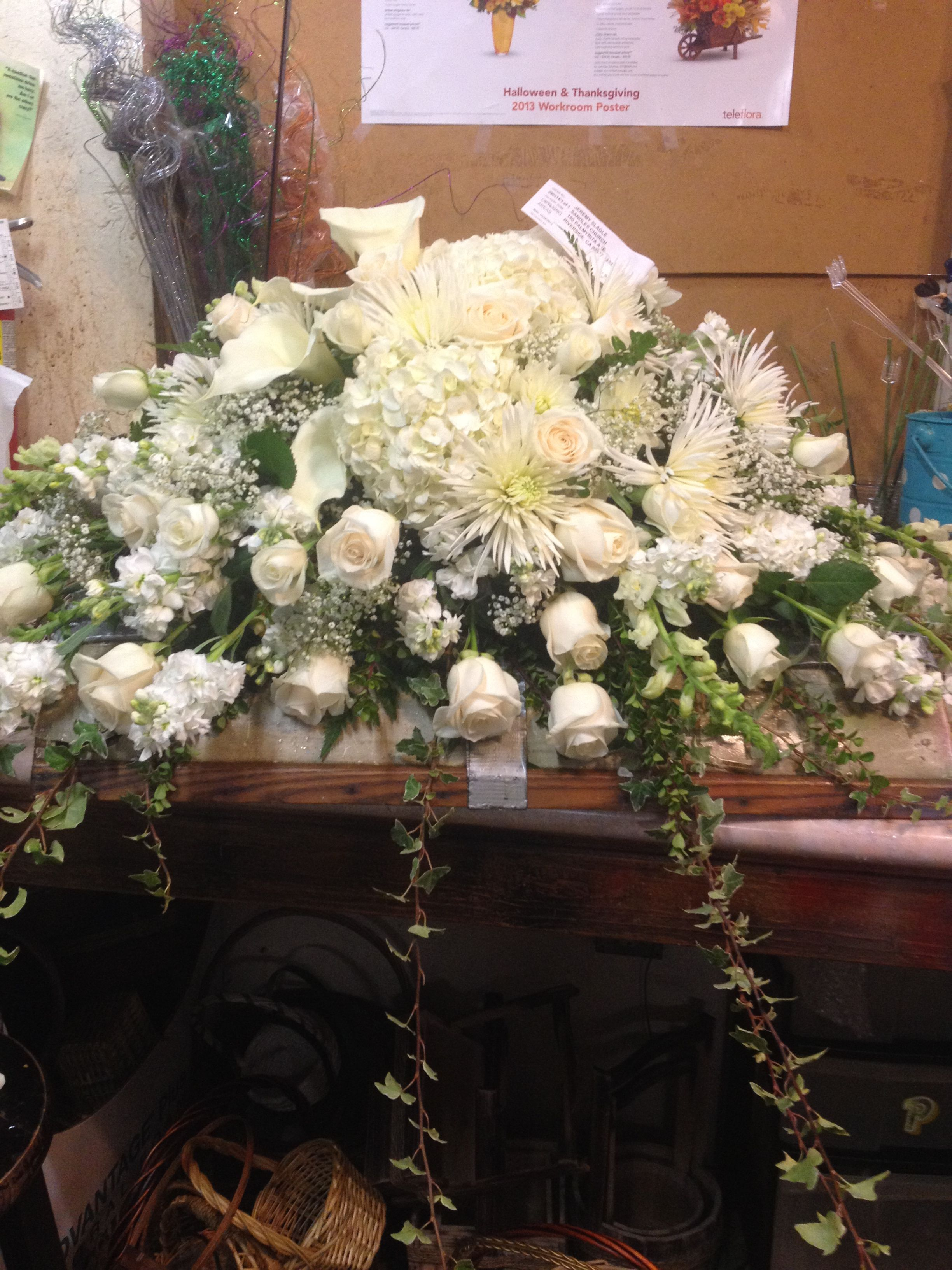 All White Casket Cover With Calla Lilies Roses And