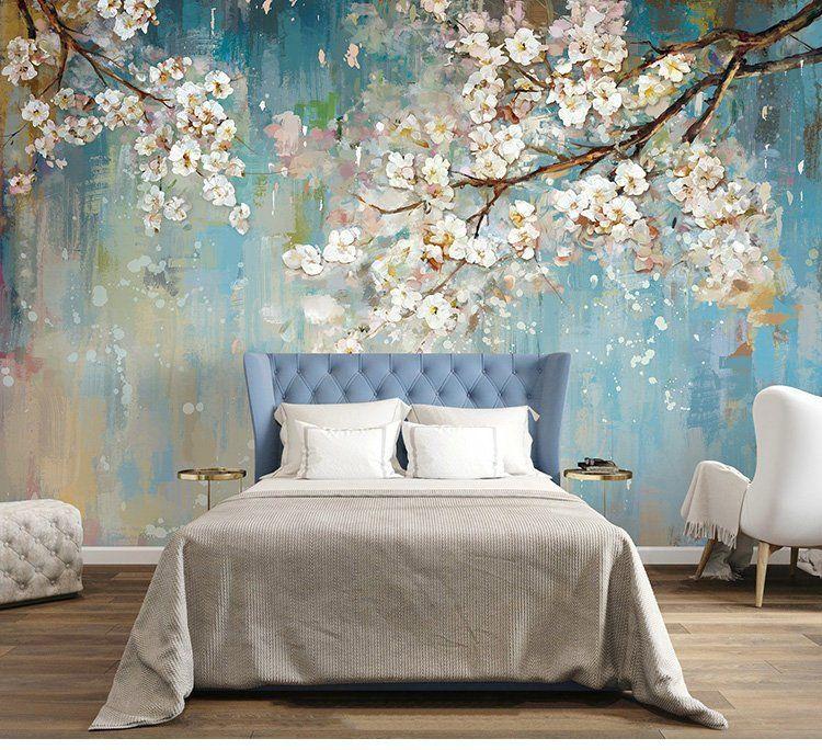 3d Floral Wall Wallpaper Light Blue Tree Wall Mural Floral Wall Art Wall Decal Vintage Oil Painting Wall Sticker In 2020 Tree Wall Murals Wall Wallpaper Wall Murals