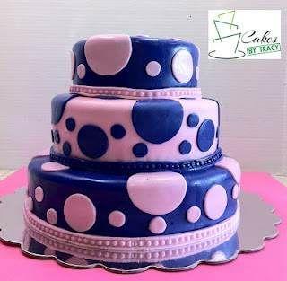Purple & pink polk-a-dot baby shower cake