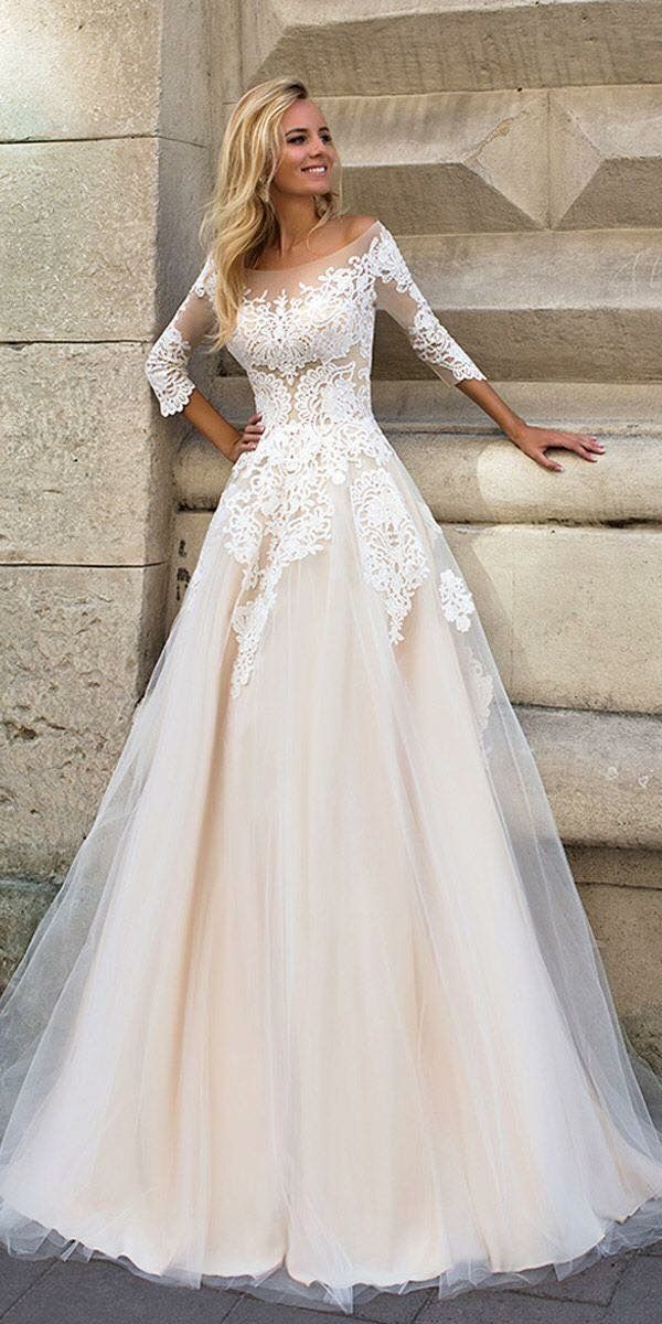 Lace Three Quarter Sleeve Wedding Dress