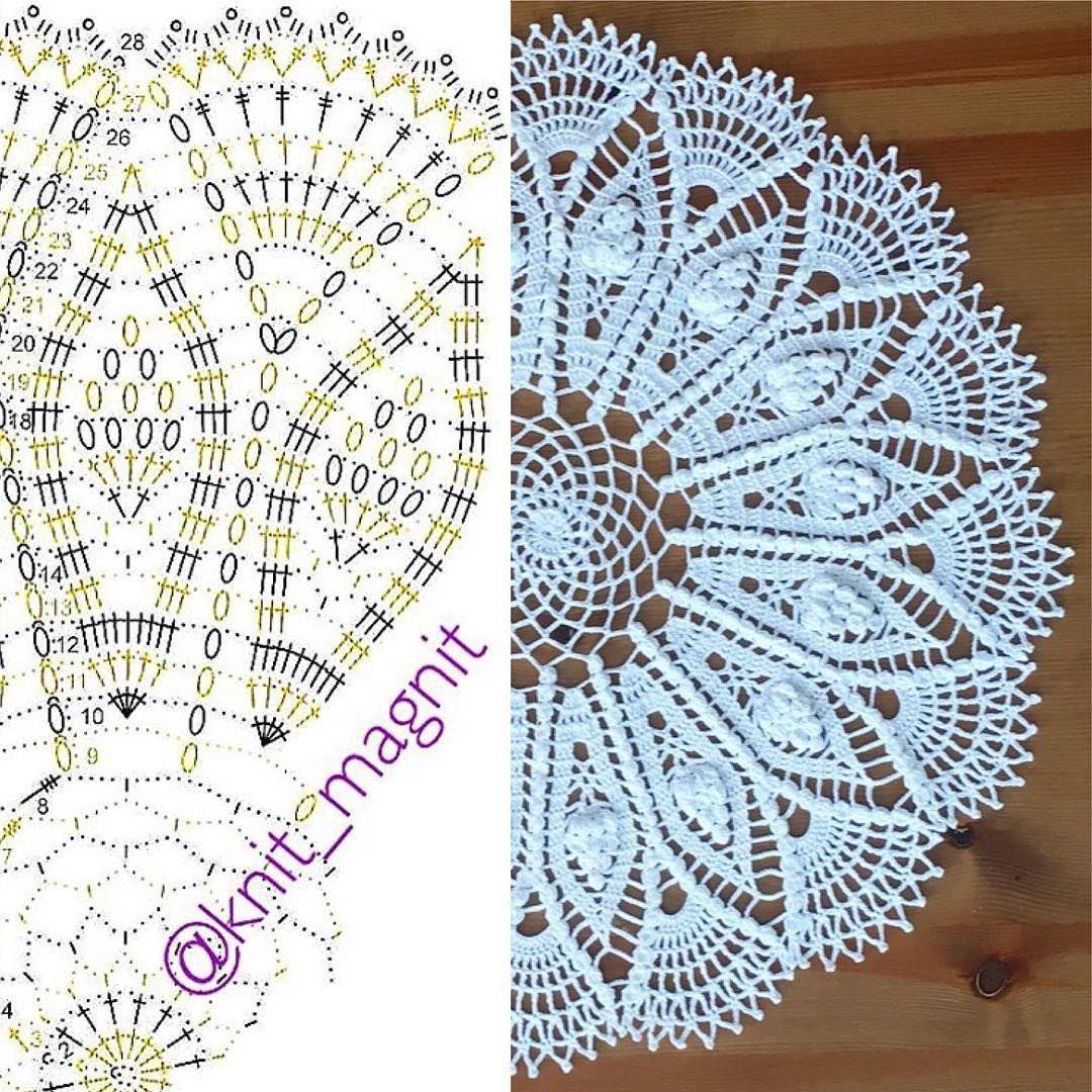 186 отметок «Нравится», 5 комментариев — ВЯЗАНИЕ/CROCHETING/KNITTING (@masterskaya.nsk) в Instagram: «Готова #СалфеткаОлеся Схему взяла у нашей дорогой Катерины❤️ #knit_magnit_pattern Повторю ее и…»
