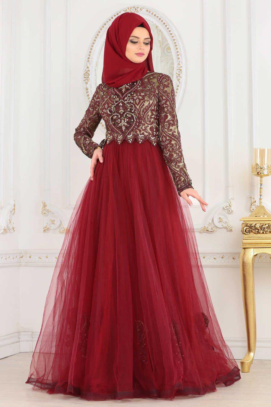 Neva style claret red hijab evening dress br evening dress