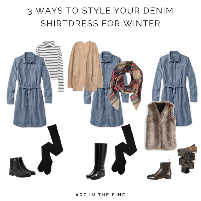 three ways to style a denim shirtdress for winter  b706f5ddd24