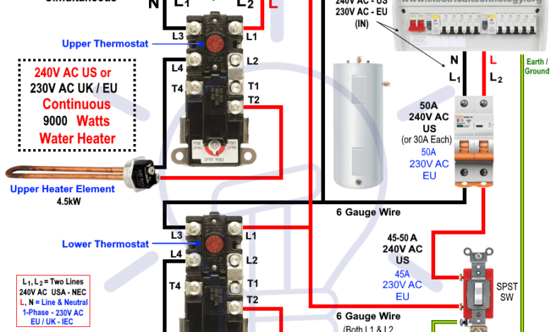 How to Wire 240V 230V Simultaneous Water Heater