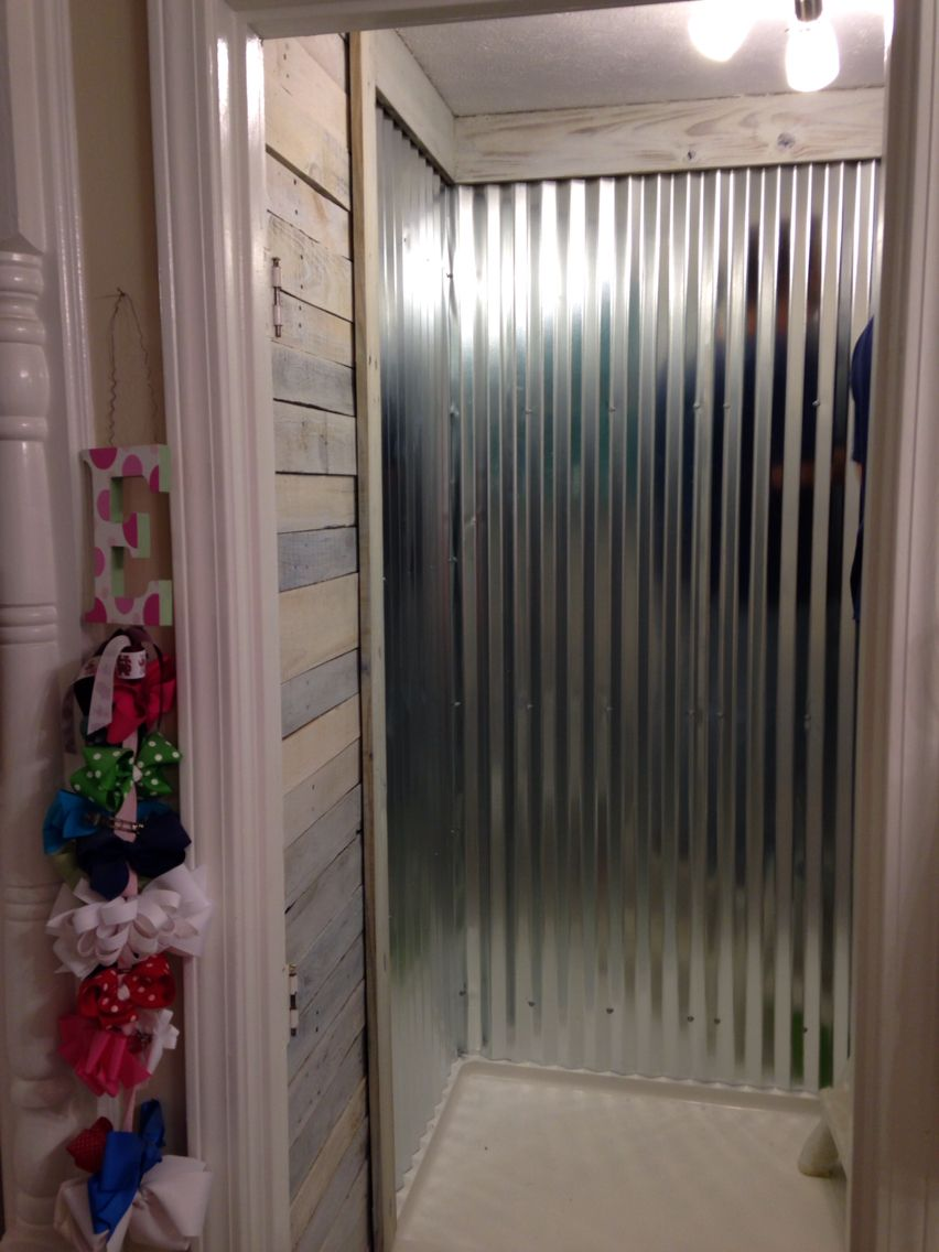 Another View Of Corrugated Metal Shower And White Wash Pallet Walls Tin Shower Walls Rustic Bathroom Designs Shower Wall