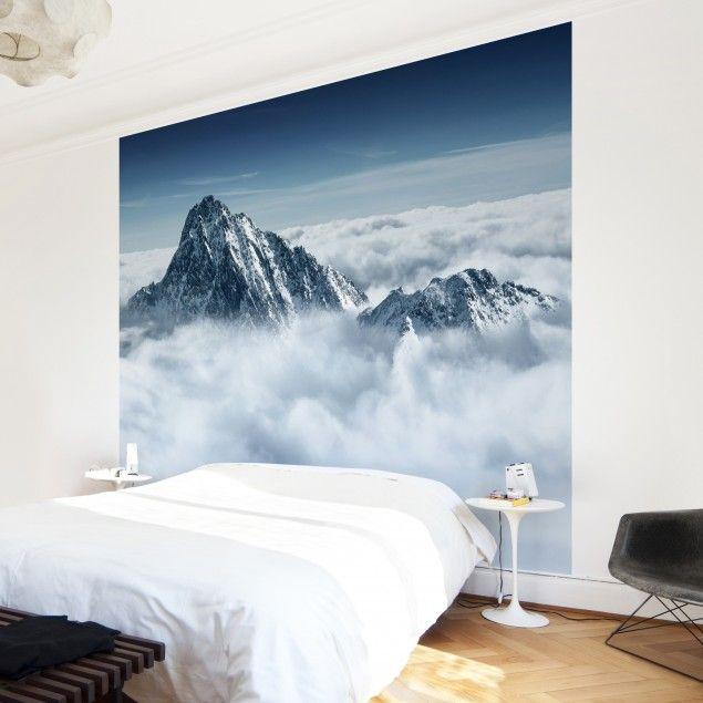Fototapete Berge - Die Alpen über den Wolken - Vliestapete Quadrat