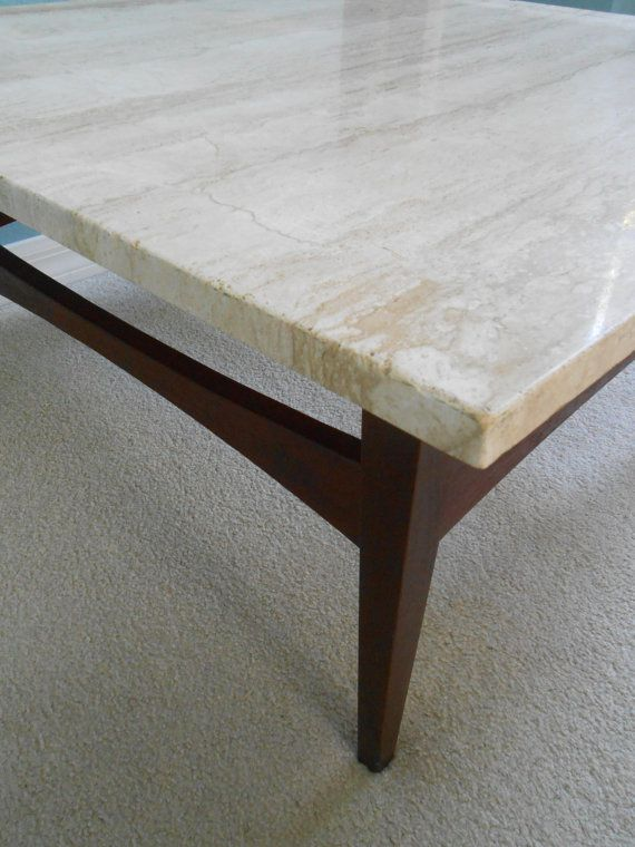 Mid Century Large Square Coffee Table Travertine Top Danish Modern