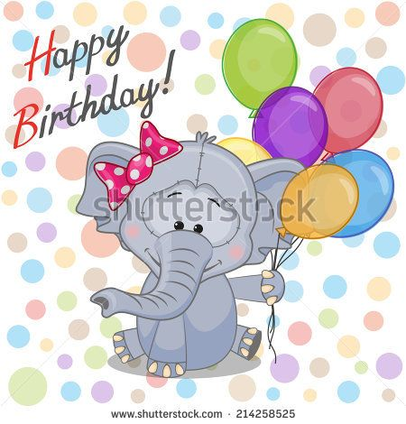 Greeting card Elephant with balloons