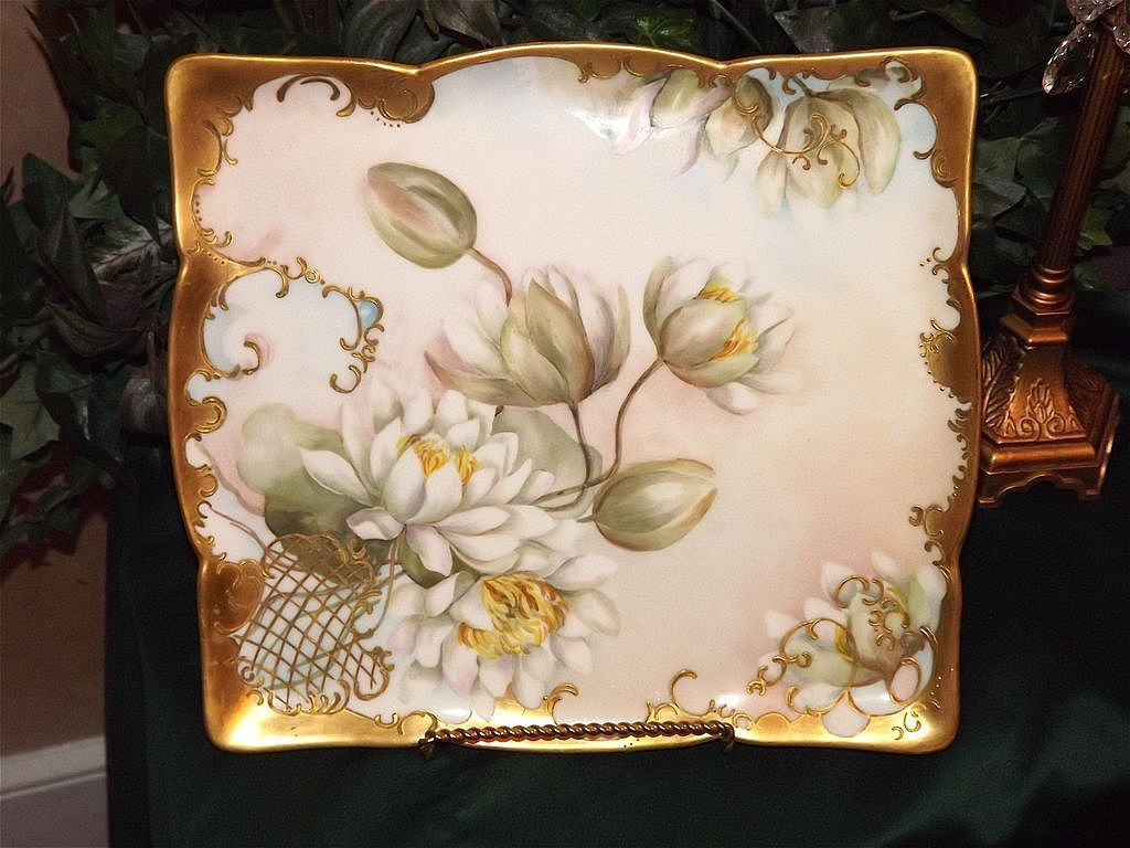 Limoges Wonderful Rectangular Platters with White Water Lilies/Lotus Blossoms and Heavy Gold