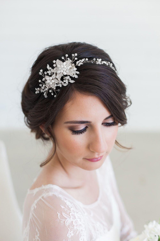 silver bridal headpiece, wedding hair vine, bridal hair