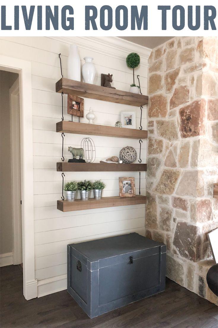 Modern Farmhouse Living Room Tour | Diy living room decor ...