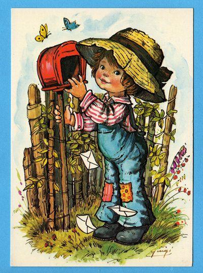 Postcard vintage 70s. Cute boy looking in the von bluumievintage, $4.25