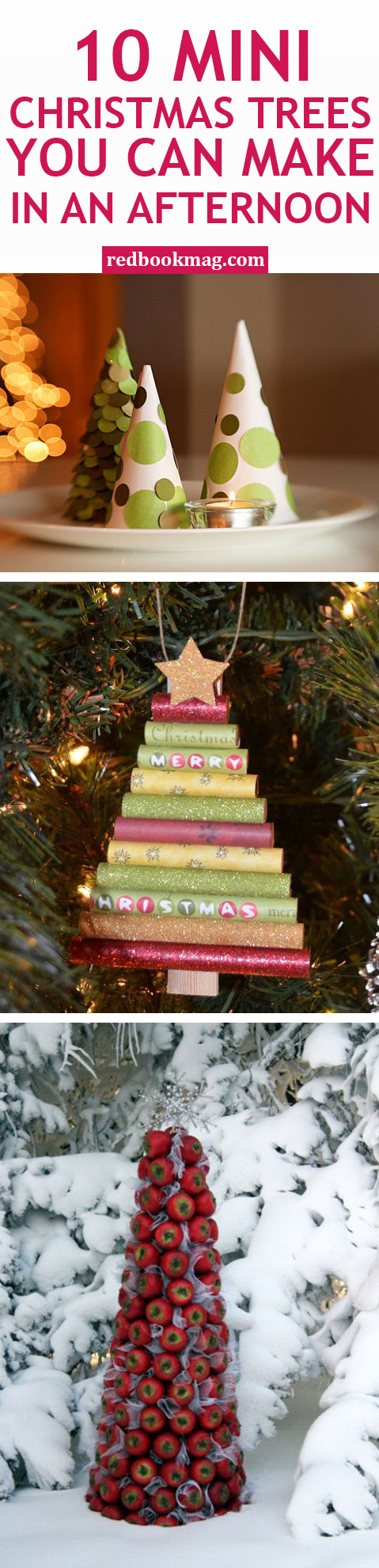 MINI DIY CHRISTMAS TREES: These Christmas crafts are fun, festive, and can be created by anyone—no matter your skill level! With these tutorials, you'll learn how to make cute trees out of apples, spindles, paper, snow cones, wood, driftwood, shells, picture frames, books, and more! Click through for the holiday hacks and tutorials will be fun for the entire family this holiday season!