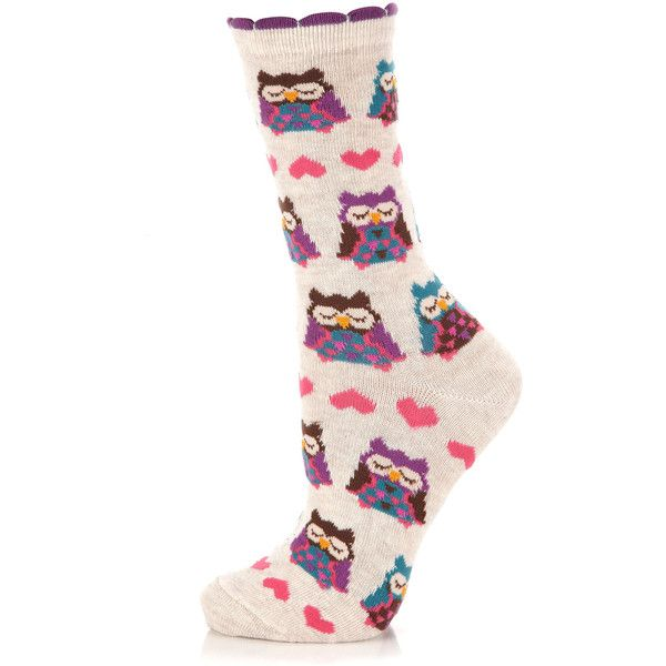 Accessorize Snoozing Owl Socks ($7) ❤ liked on Polyvore