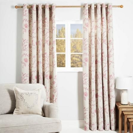 Dunelm Floral Durable Pink Genevieve Lined Eyelet Curtains Curtains Living Room Curtains Home Decor