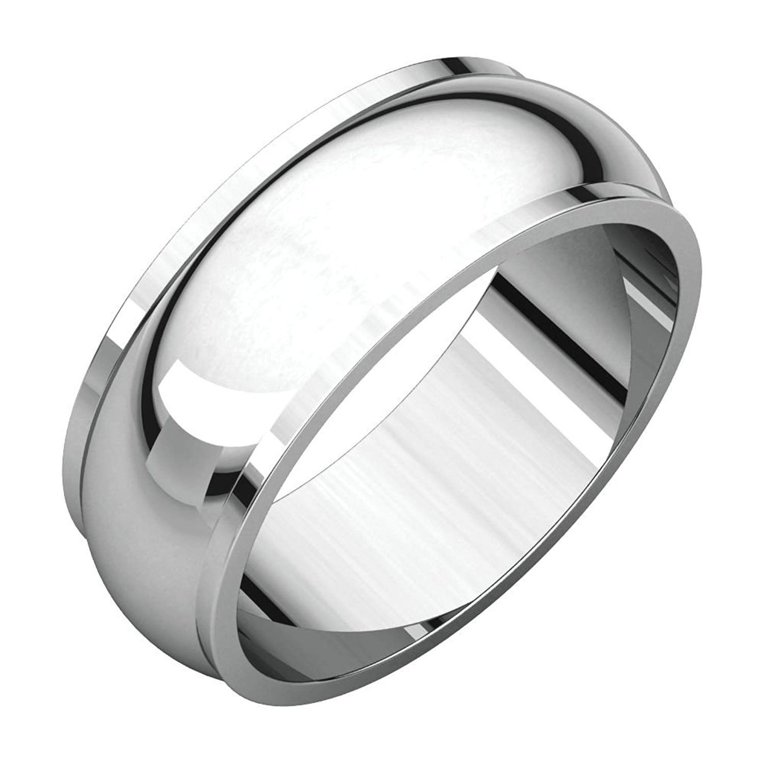 7MM Sterling Silver High Polished Half-Round Light Comfort Fit Classy Dome Wedding Band Ring