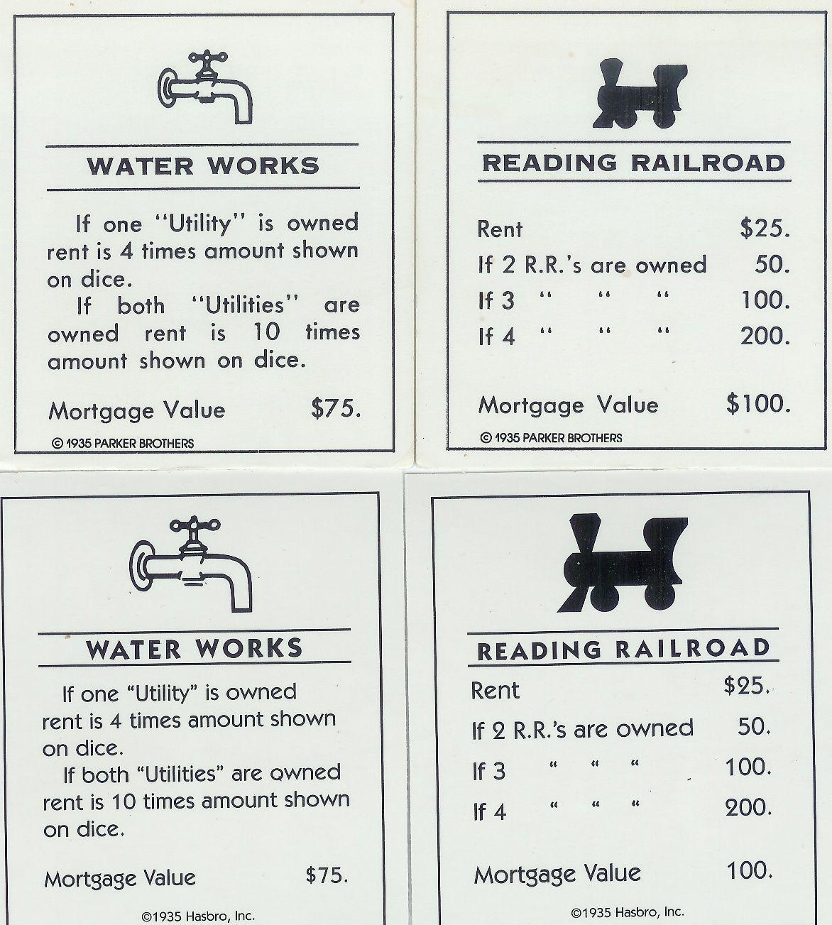 Original Monopoly Property Cards Printable Monopoly Cards With Get Out Of Jail Free Card Template Best Tem Juegos De Monopoly Tarjetas Plantilla De Tarjeta