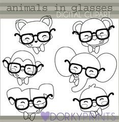25+ Animas Wearing Glasses Clipart Back And White