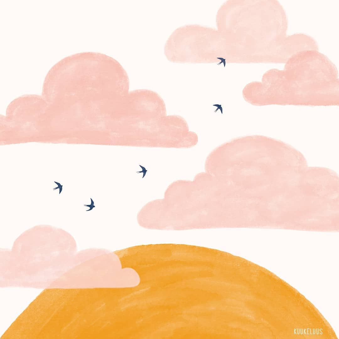 Handmade Illustration With Pink Clouds The Sun And Swallows Made By Kuukeluus Pink Clouds Sun Illustration Cloud Illustration