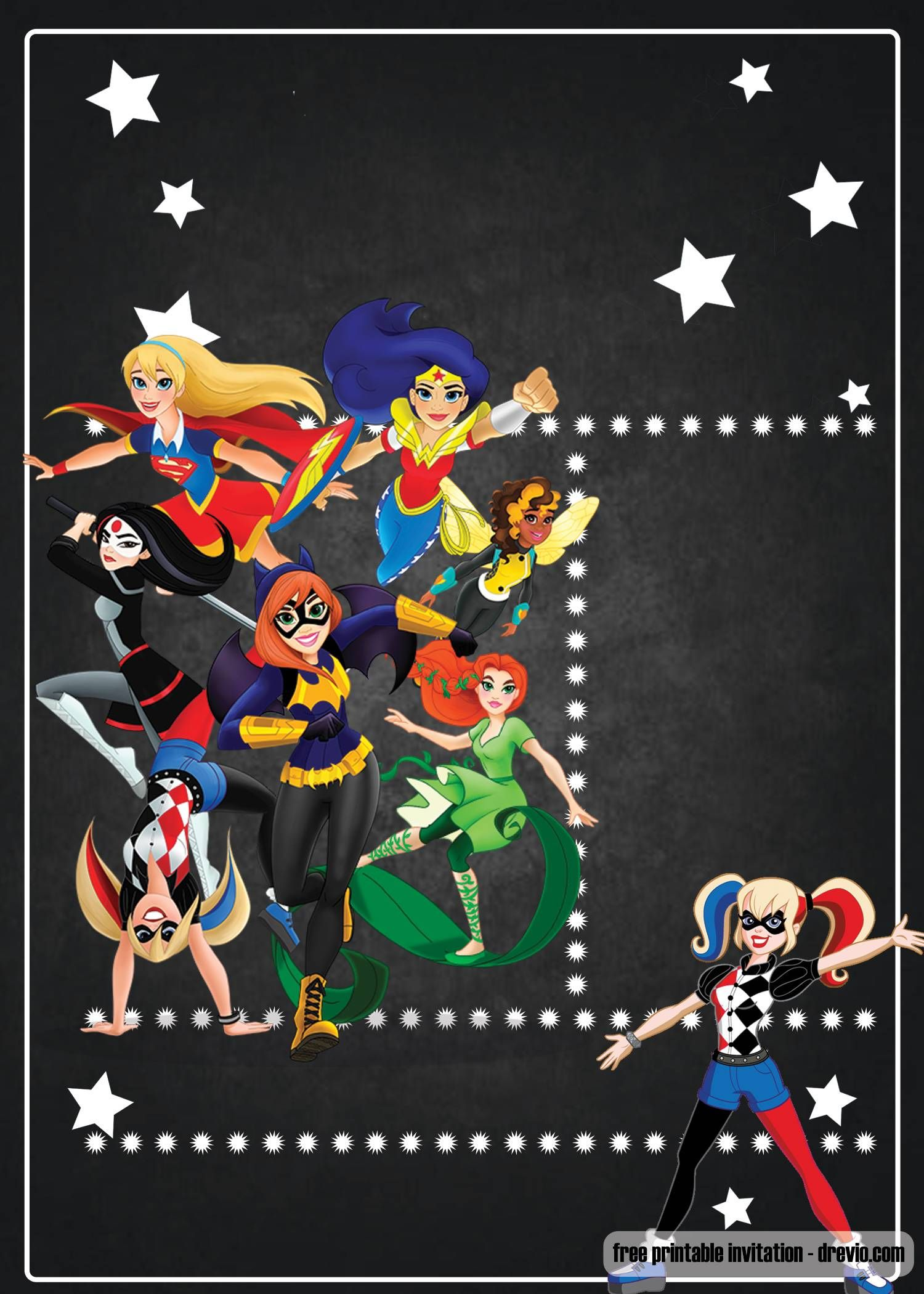 Free Printable Dc Superhero Girls Invitation Template With Images