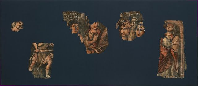 Exodus Painting, five elements from a painted hanging depicting the Crossing of the Red Sea, AD mid-2nd–mid-4th century [Credit: The Metropolitan Museum of Art]
