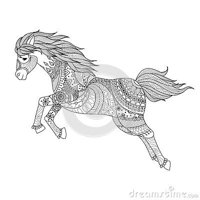 Zentangle Design For Jumping Horse For Coloring Book Horse Coloring Pages Horse Coloring Books Horse Coloring