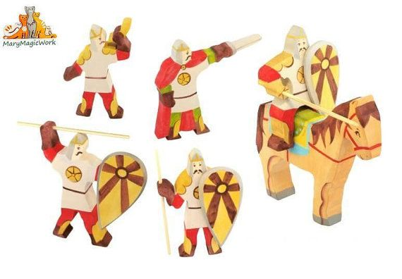 Set of Slavic warriors - Wooden soldiers, Wooden toys, Waldorf toys, Tactile wooden toys, Handmade wooden toys for kids, Montessori toys