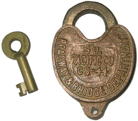 old locks and keys | railroad lock and key southern pacific co lock date  unknown adlake - Old Locks And Keys Railroad Lock And Key Southern Pacific Co