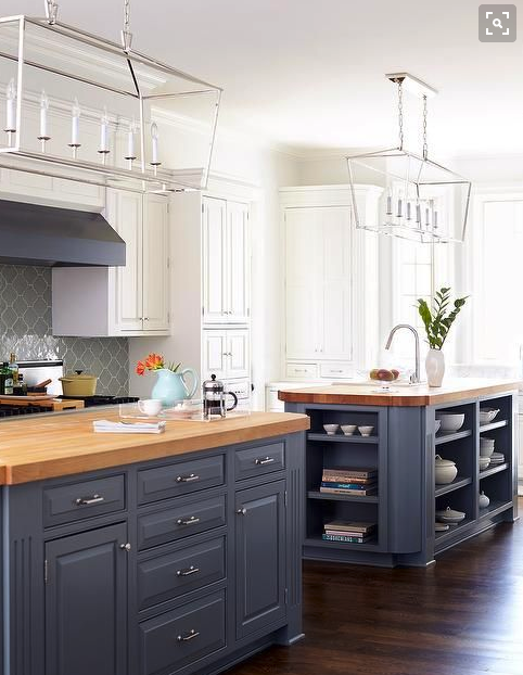 Dark Lowers White Uppers With Butcher Block Blue Gray Kitchen