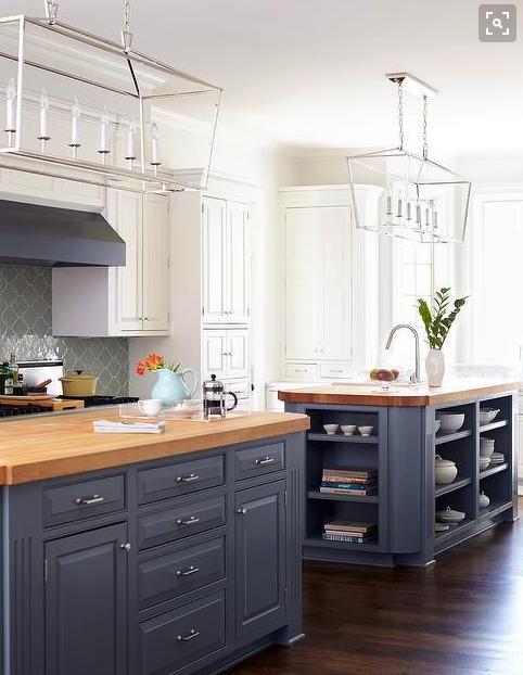 Dark Lowers White Uppers With Butcher Block Blue Gray Kitchen Cabinets Kitchen Renovation Grey Kitchen Island