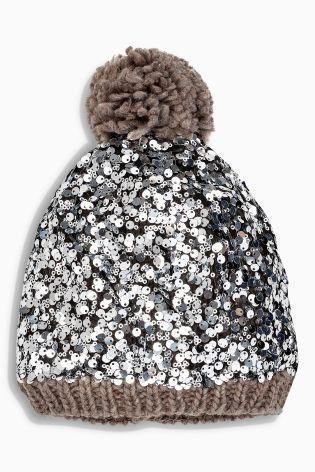 4cb132cb778 Grey Sequin Pom Hat
