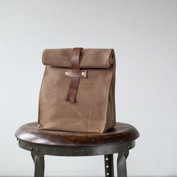 No. 215 Lunch Tote in Dark Khaki Waxed Canvas