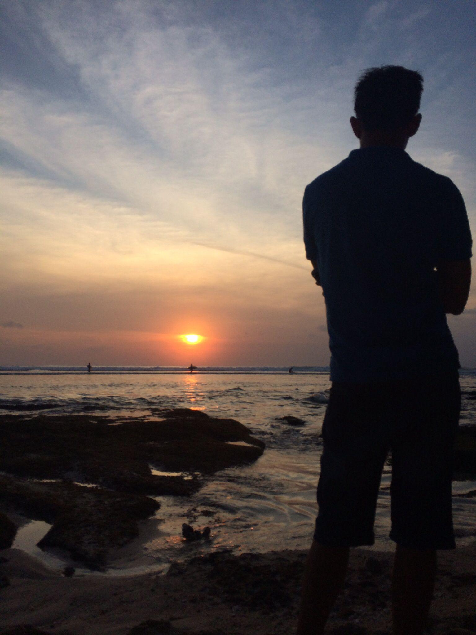 Enjoying the sunset moment Silhouette photography, Boy