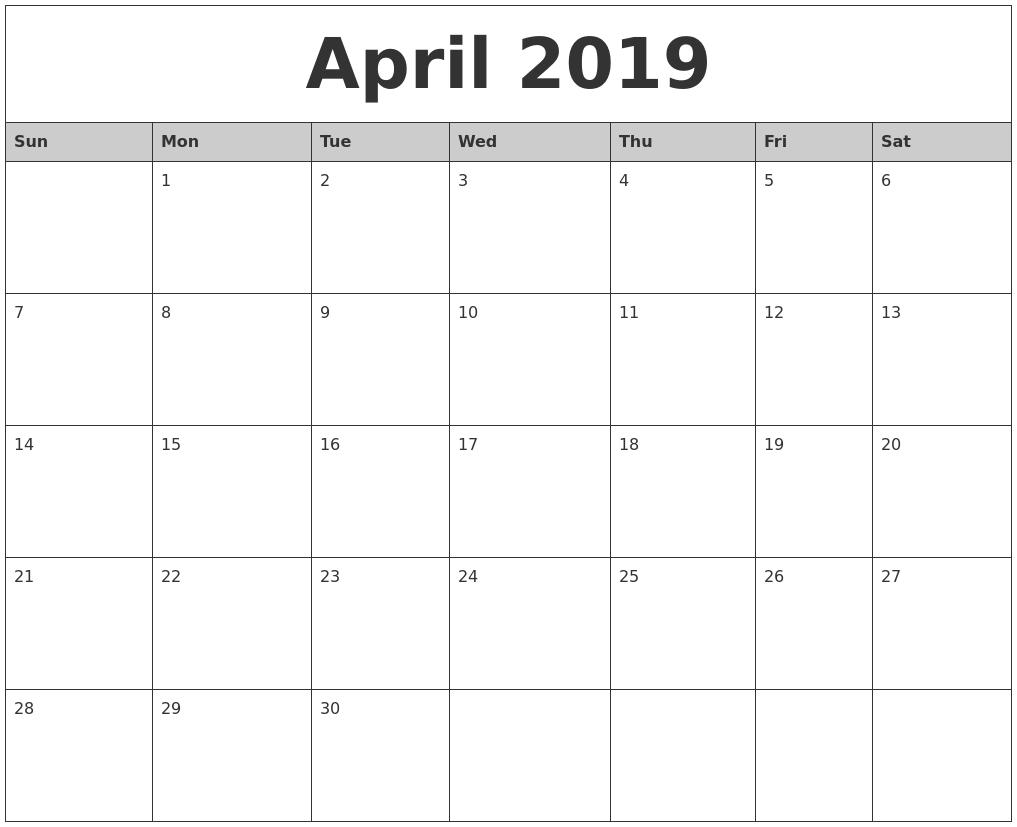 april 2019 monthly calendar template april april2019 rh pinterest com