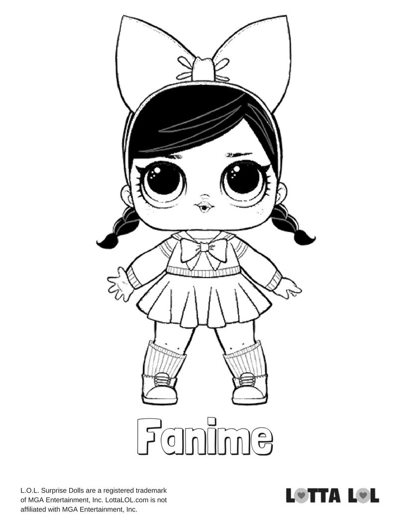 Fanime Coloring Page Lotta LOL Kids printable coloring