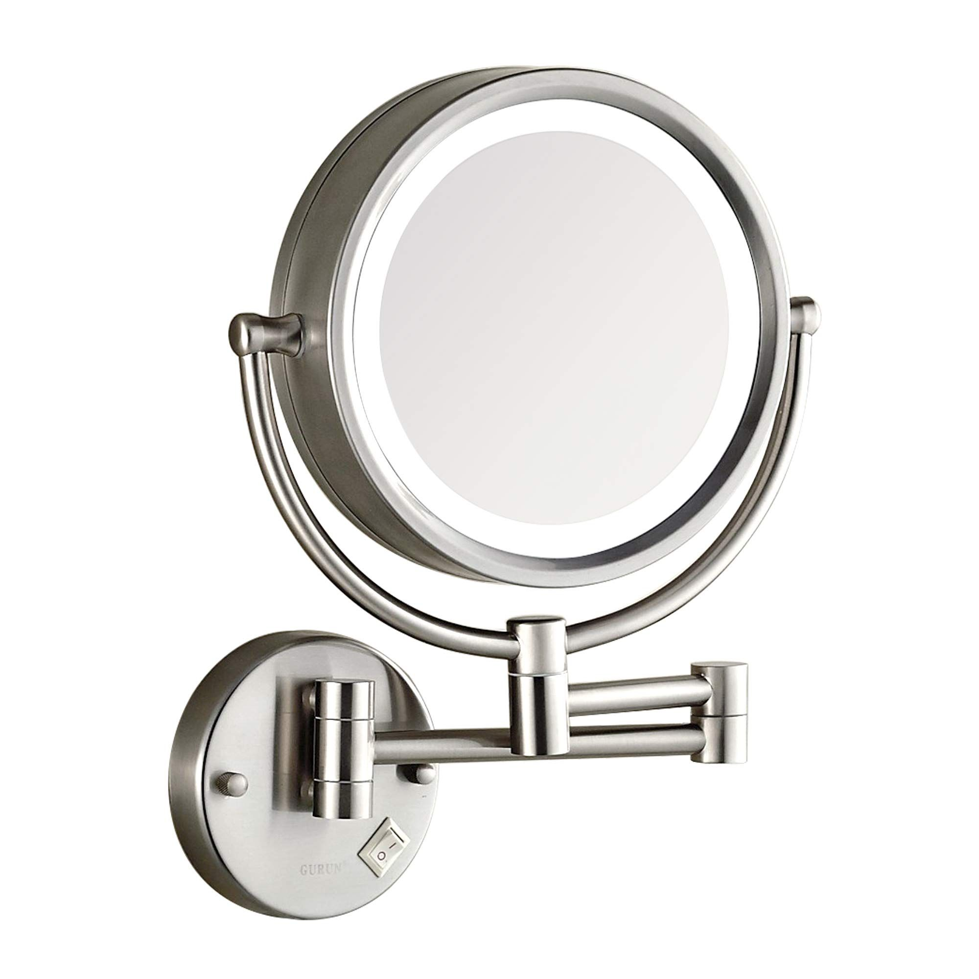 Dowry Makeup Mirror Wall Mount Lighted With 10x Magnification Direct Wire 8inch H Wall Mounted Light Brushed Nickel Bathroom Mirror Wall Mounted Makeup Mirror