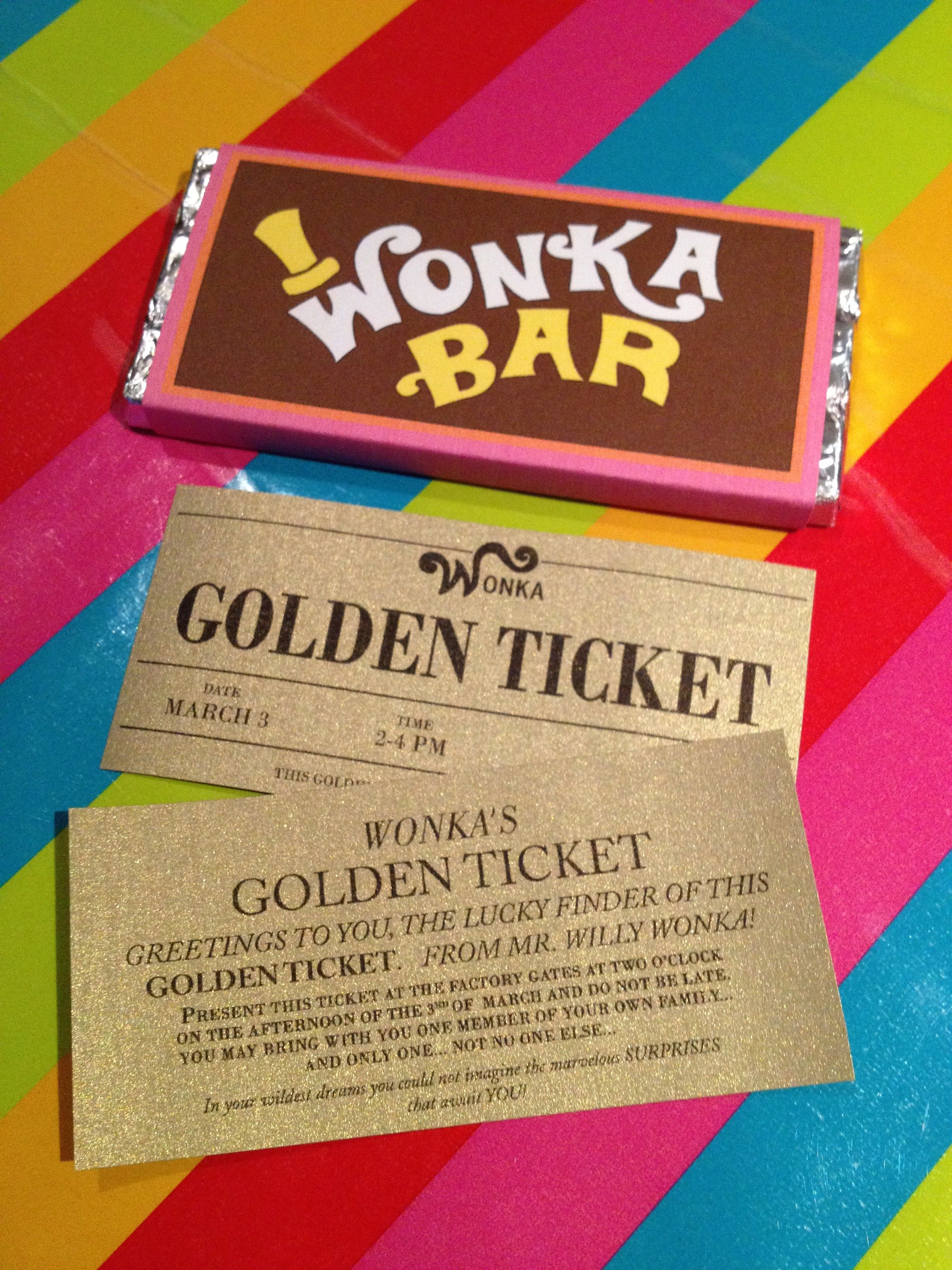 Printable Golden Ticket Chocolate Bar Invitations (Custom-front ...