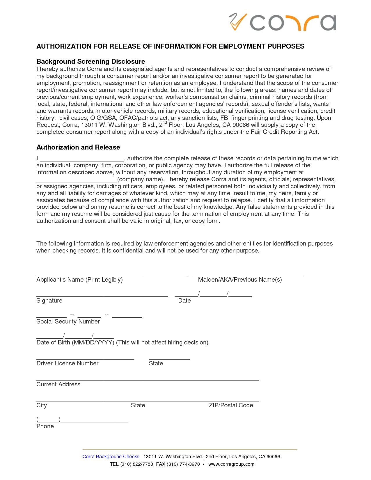 Employment Release Form  Corra Employment Screening Background