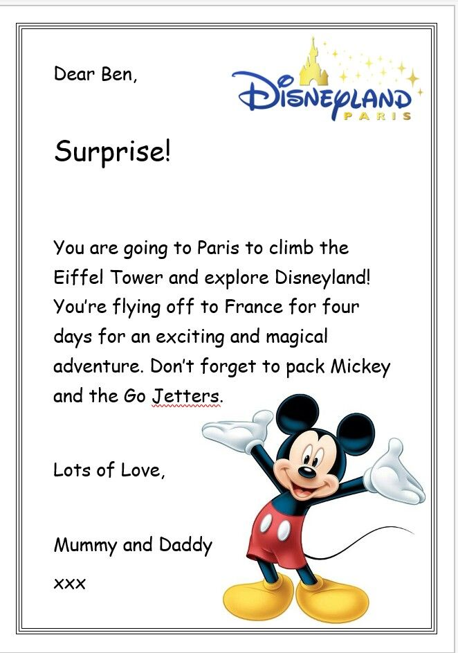 disney surprise letter disneyland