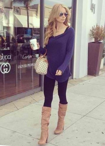 Long sweater, leggings, boots, long wavy hair ,can\u0027t go wrong