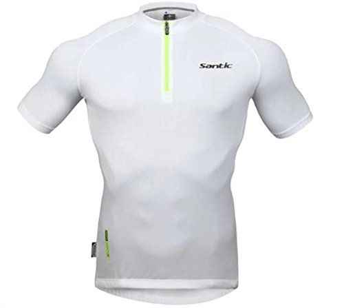 Santic Mens Summer UPF40 Short Sleeve White Cycling Jersey XL ** Want additional info? Click on the image.