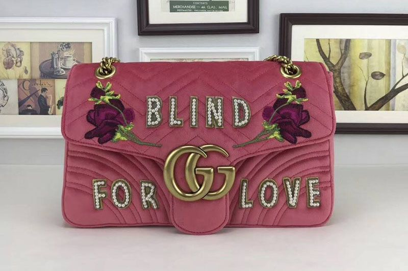85e34a33bf928b Gucci 443496 Blind For Love GG Marmont Embroidered Velvet Bags Pink ...
