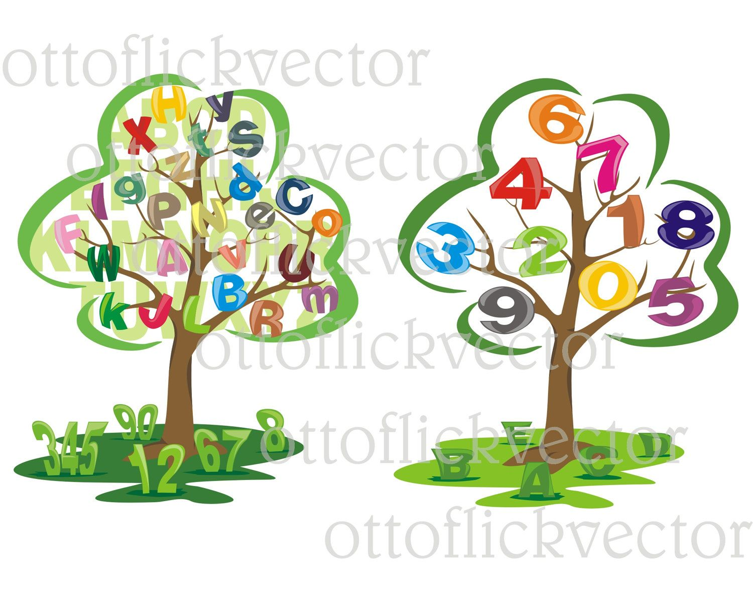 EDUCATION SCHOOL VECTOR Clipart, letters numbers teaching tree eps ...