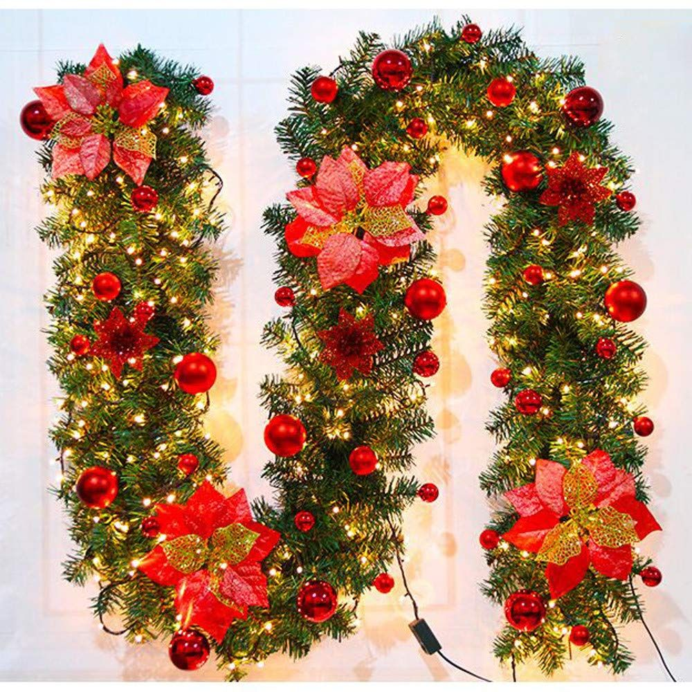 Lotus Flower Christmas Decorations Christmas Garland With Lights Artificial W Christmas Decorations Christmas Lights Garland Christmas Decorations For The Home
